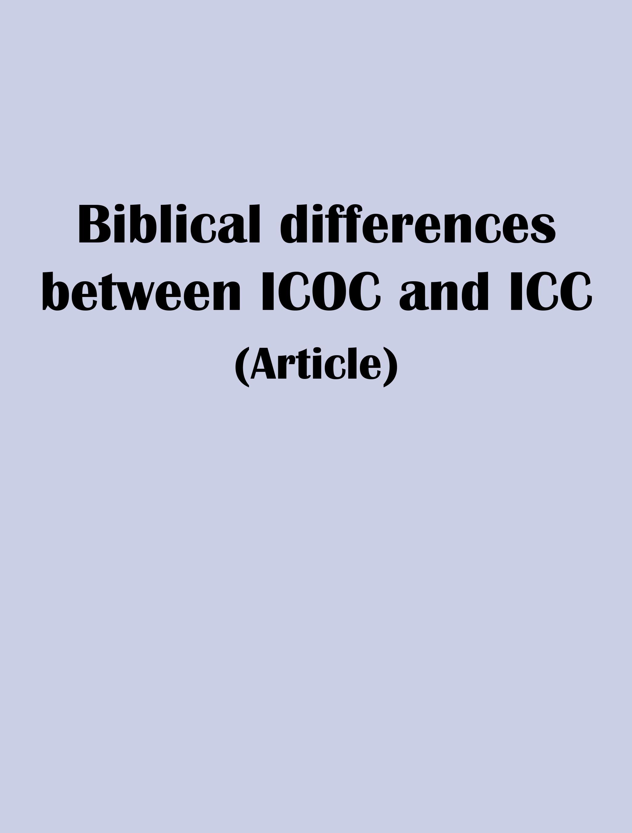 Icoc bible study series